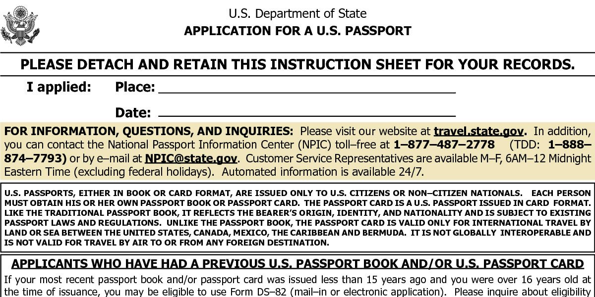 Ds-11 Child Passport Application Form | Passports