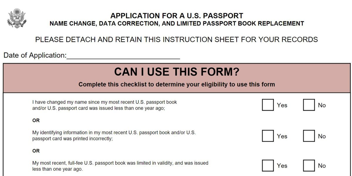 Ds Change Name On Passport Application Form  Passports