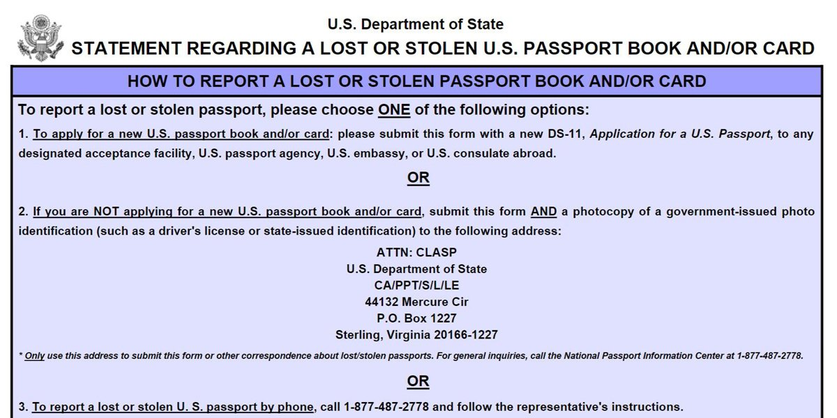 Ds-64 Stolen/Lost Passport Application Form | Passports