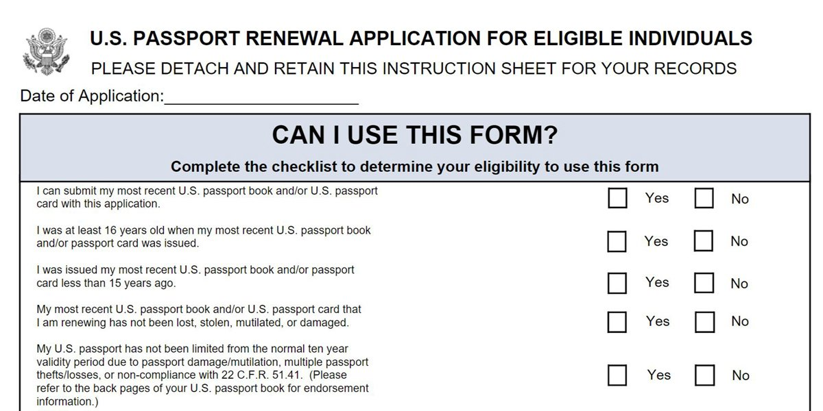 DS82 Passport Renewal Application Form – Passport Renewal Application Form